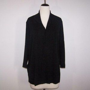 Exclusively Misook Cardigan Large Open Front 3/4 Sleeves Black Stretch Acrylic